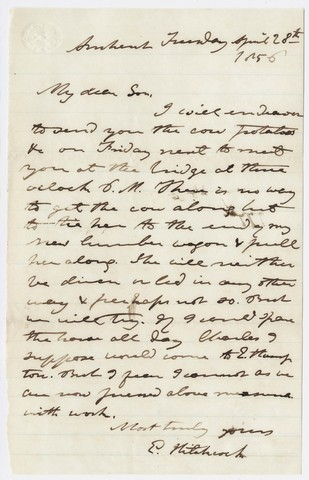 Edward Hitchcock letter to Edward Hitchcock, Jr., 1856 April 28