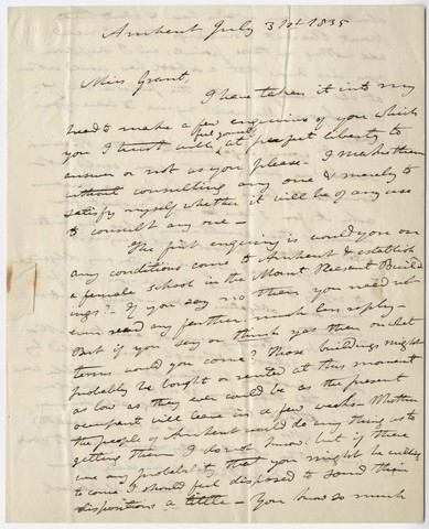 Edward Hitchcock letter to Zilpah P. Grant, 1835 July 31