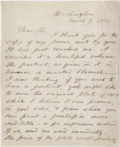 Walt Whitman letter to [John Camden Hotten], 1868 March 9