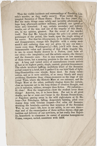 Walt Whitman galley proof sheets of