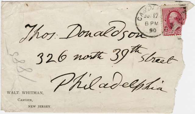 Walt Whitman envelope to Thomas Donaldson, 1890 June 17