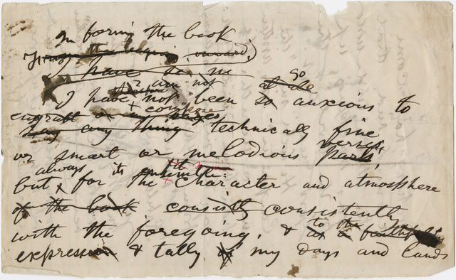 Walt Whitman notes on a book