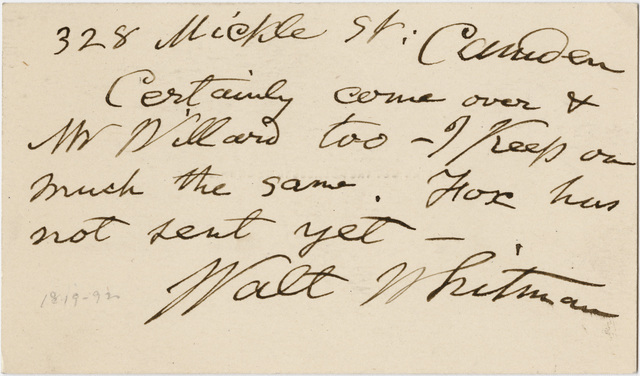 Walt Whitman letter to Talcott Williams, 1891 September 22