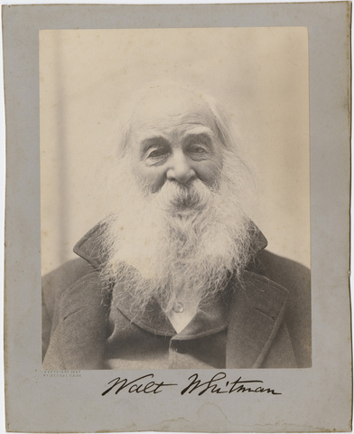 Walt Whitman, head-and-shoulders portrait, 1887