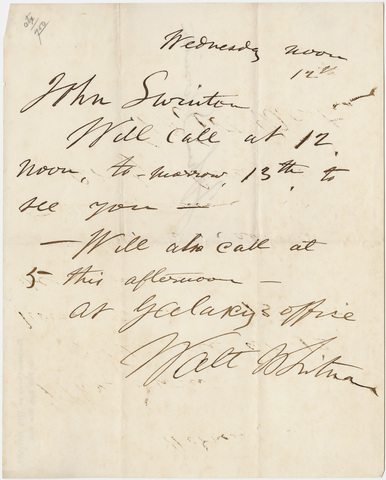 Walt Whitman letter to John Swinton