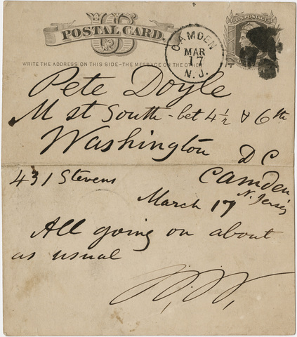 Walt Whitman letter to Peter Doyle, [1876] March 17