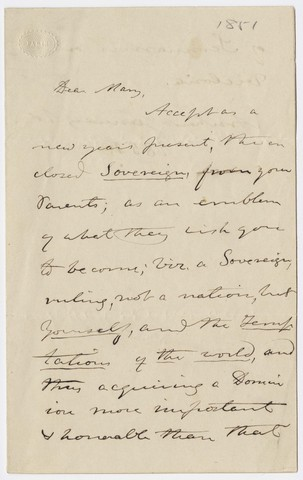 Edward Hitchcock letter to Mary Hitchcock, 1851 January 1