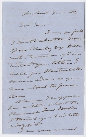 Edward Hitchcock letter to Edward Hitchcock, Jr., 1851 June 10