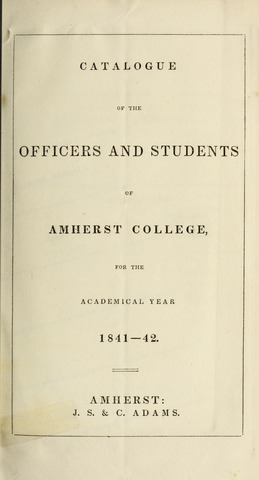 Amherst College Catalog 1841/1842