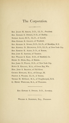 Amherst College Catalog 1884/1885