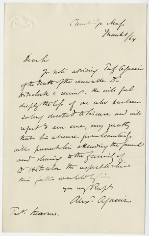 Alexander Agassiz letter to William Augustus Stearns, 1864 March 1