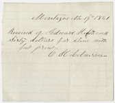 Edward Hitchcock receipt of payment to O. H. Lebourveau, 1861 November 19