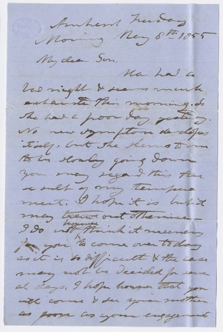 Edward Hitchcock letter to Edward Hitchcock, Jr., 1855 May 8