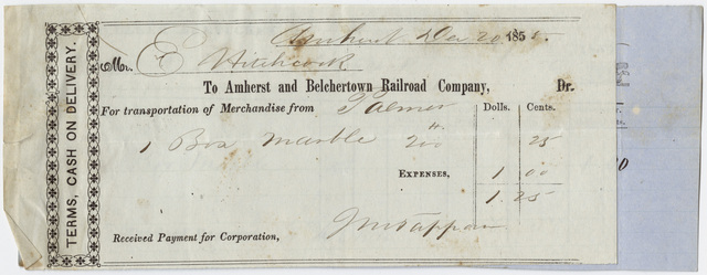Edward Hitchcock receipt of payment to the Amherst and Belchertown Railroad Corporation, 1858 December 20