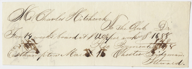 Edward Hitchcock receipt of payment to Chester Bridgman, 1852 March 16