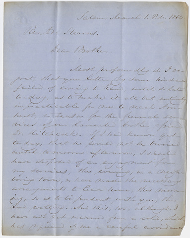 Samuel Melancthon Worcester letter to William Augustus Stearns, 1864 March 1