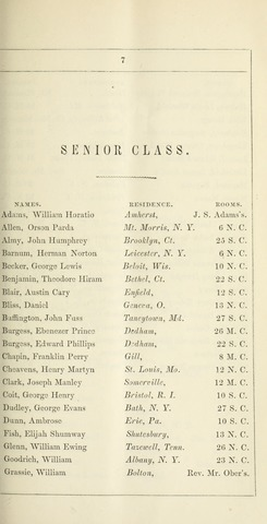Amherst College Catalog 1851/1852