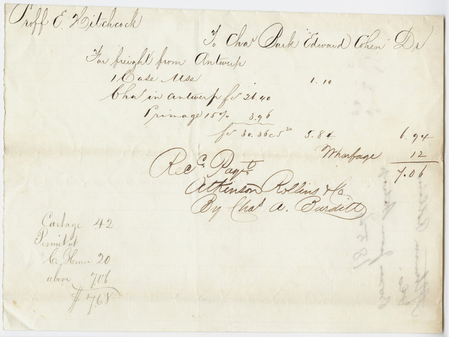 Edward Hitchcock receipt of payment to Atkinson Rollins and Co., 1854