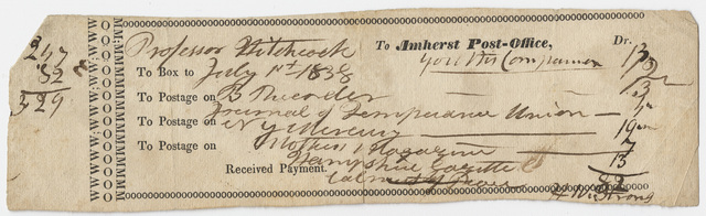 Edward Hitchcock invoice for the Amherst Post Office, 1838 July 1