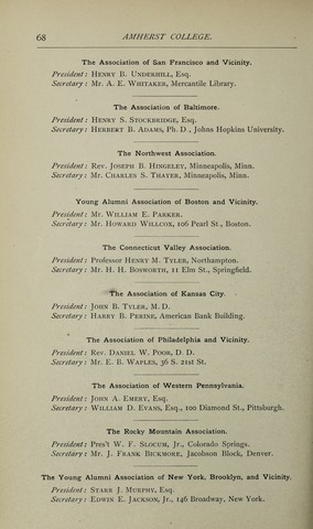 Amherst College Catalog 1891/1892