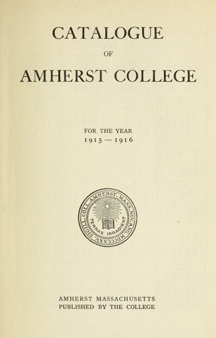 Amherst College Catalog 1915/1916