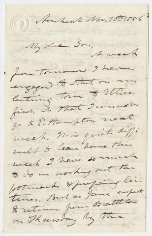 Edward Hitchcock letter to Edward Hitchcock, Jr., 1856 November 10