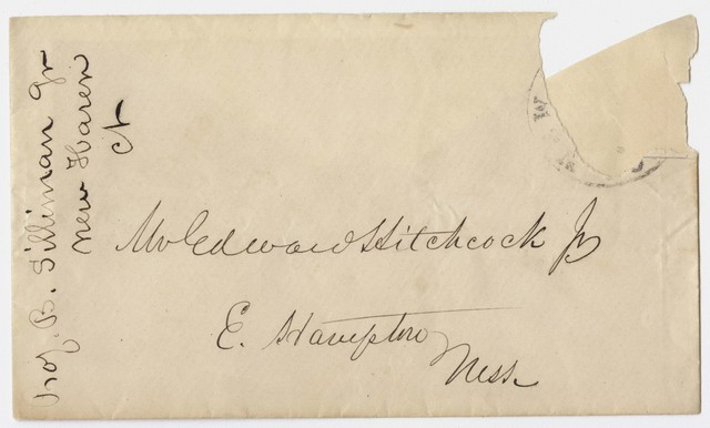 Benjamin Silliman, Jr. envelope to Edward Hitchcock, Jr.