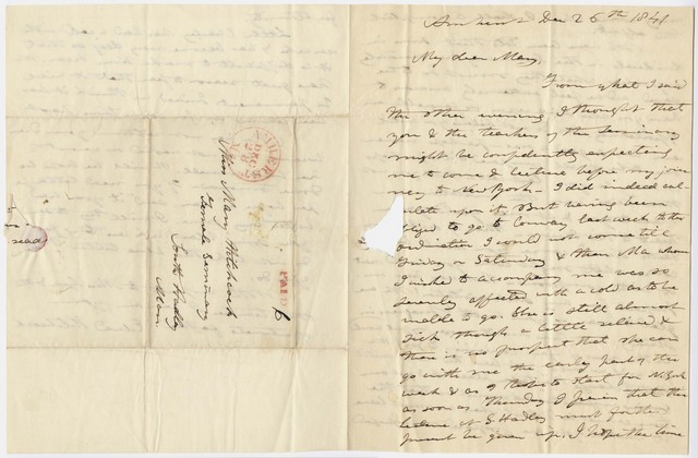 Edward Hitchcock letter to Mary Hitchcock, 1841 December 26