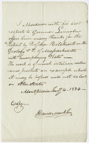 David Mack? letter to Governor Levi Lincoln, Jr., 1834 January 4