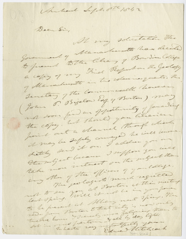 Edward Hitchcock letter to unidentified geologist at Bowdoin College, 1842 September 8