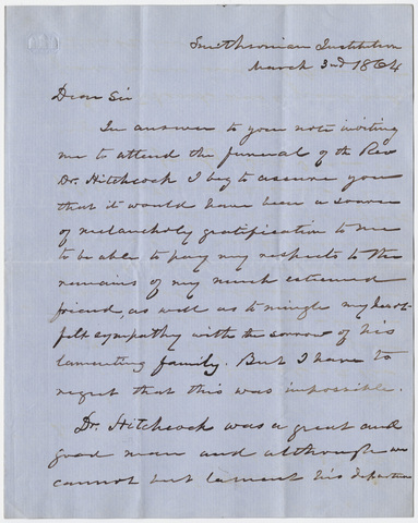 Joseph Henry letter to William Augustus Stearns, 1864 March 3