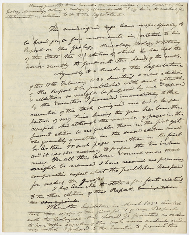 Edward Hitchcock draft petition to Massachusetts state legislature, 1835