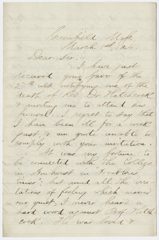 Artemas Dean letter to William Augustus Stearns, 1864 March 1