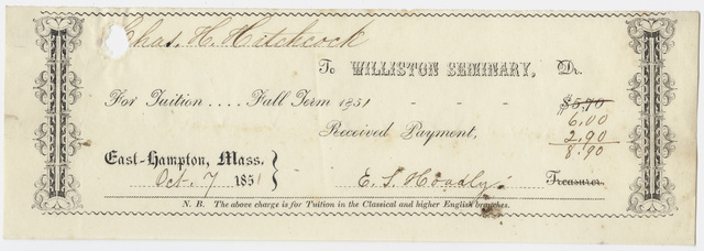 Edward Hitchcock receipt of payment to Williston Seminary, 1851 October 7