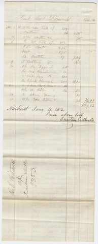 Edward Hitchcock account of purchases from Sweetser, Cutler & Co., 1853 January 10