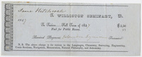 Edward Hitchcock receipt of payment to Williston Seminary, 1847