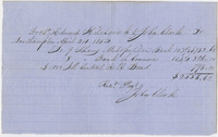 Edward Hitchcock receipt of payment to John Clarke, 1854 April 24
