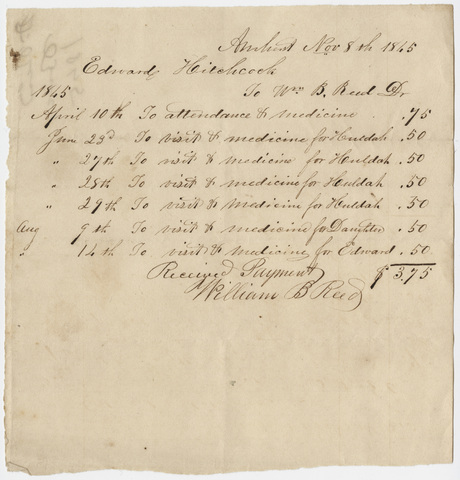 Edward Hitchcock receipt of payments to Dr. William Barrett Reed, 1845 November 8