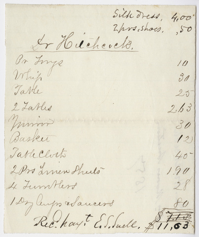 Edward Hitchcock receipt of payment to Mr. Moore's Auction?, 1857