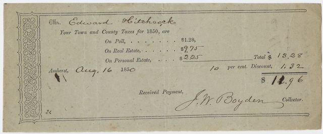 Edward Hitchcock receipt of payment to the town of Amherst, 1850