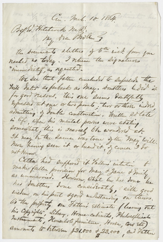 Henry Martyn Storrs letter to Edward Hitchcock, Jr., 1864 March 10