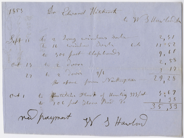 Edward Hitchcock receipt of payment to Warren Howland, 1853