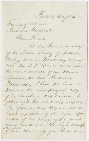 Samuel Leonard Abbot letter to the family of Edward Hitchcock, 1864 May 6