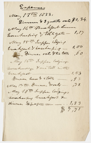 Edward Hitchcock geological survey expense account, 1833 May