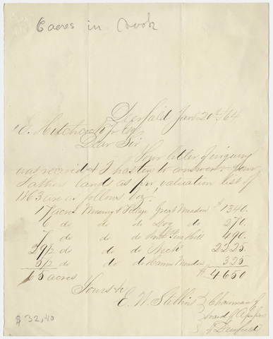 Edward W. Stebbins letter to Edward Hitchcock, Jr., 1864 January 20