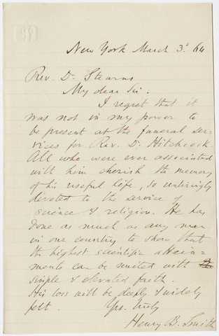 Henry Boynton Smith letter to William Augustus Stearns, 1864 March 3