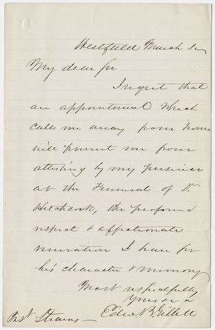 Edward Bates Gillett letter to William Augustus Stearns, [1864] March 1