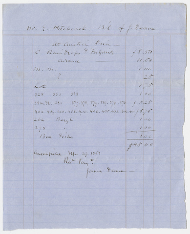 Edward Hitchcock receipt of payment to James Deane, 1853 September 27