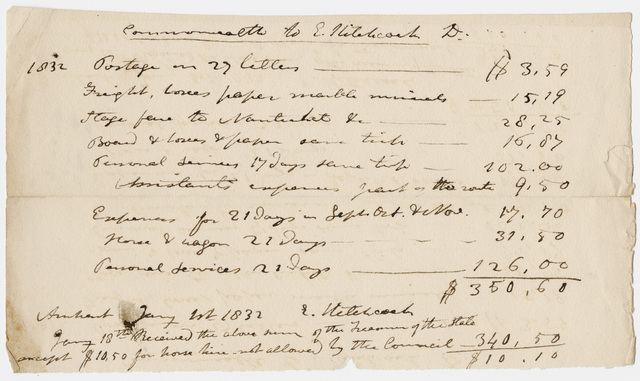 Edward Hitchcock geological survey expense account, 1832 January