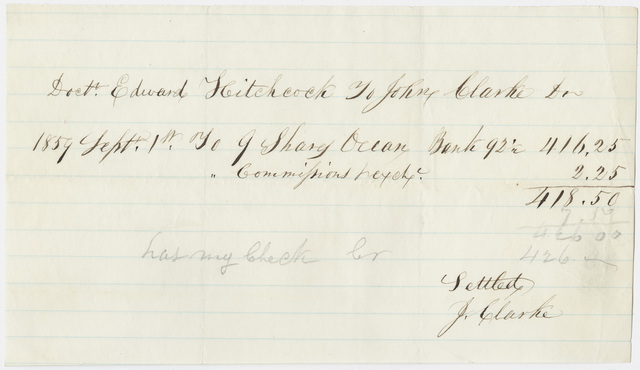 Edward Hitchcock receipt of payment to John Clarke, 1859 September 1